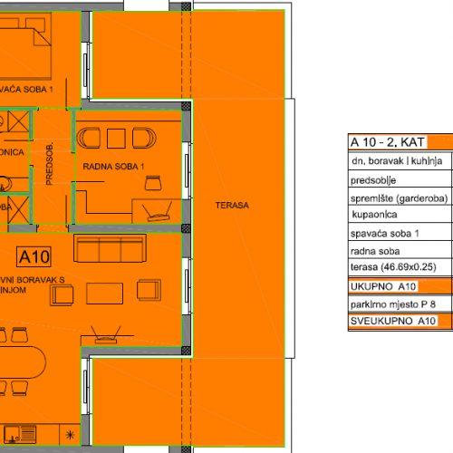 Apartman A10: 75,50 m2, Privlaka – Sabunike