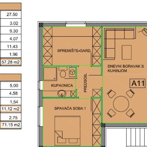 Apartman A11: 71,15 m2, Privlaka – Sabunike