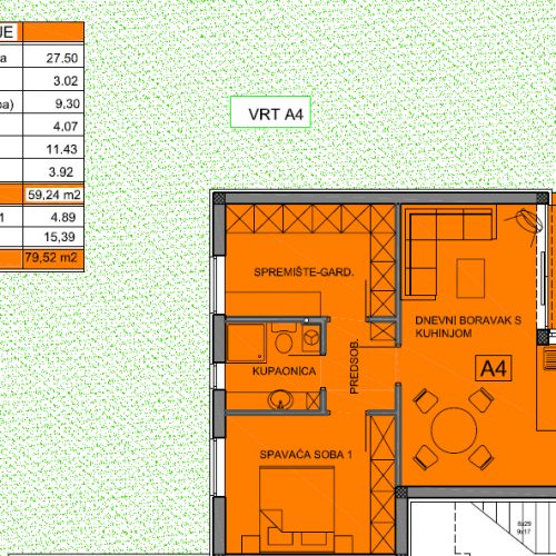 Apartman A4: 79,52 m2, Privlaka – Sabunike