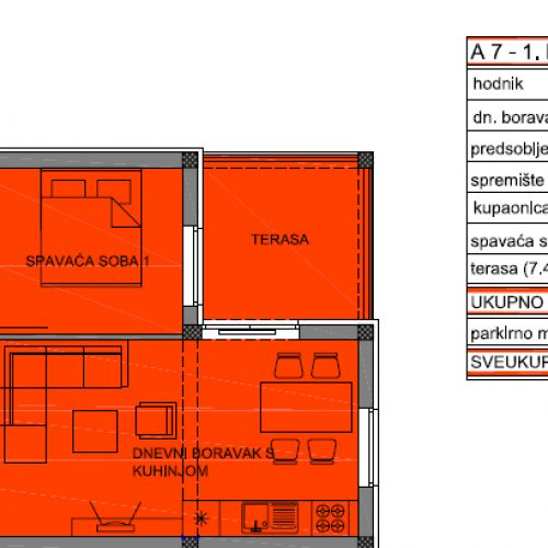Apartman A7: 53,07 m2, Privlaka – Sabunike