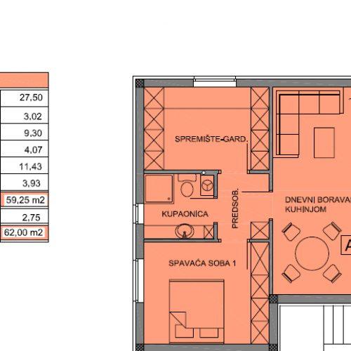 Apartman A8: 62 m2, Privlaka – Sabunike