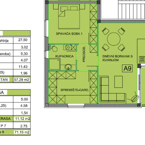 Apartman A9: 71,15 m2, Privlaka – Sabunike