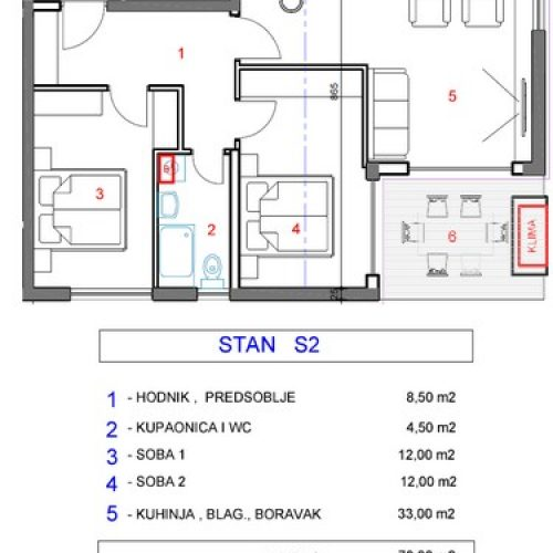 Stan: Zadar-Mocire, 79 m2, novogradnja OA-S2
