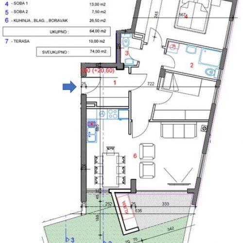 Stan: Zadar-Mocire, 74 m2, novogradnja OB-S1