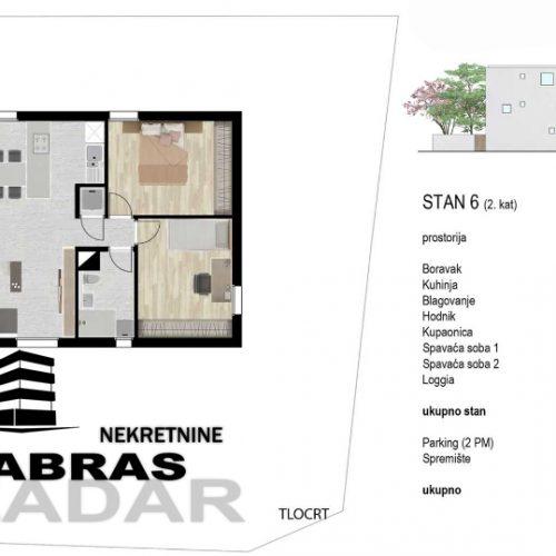 Stan: Zadar-Bulevar, 87,8m2, novogradnja – 2. kat – S6
