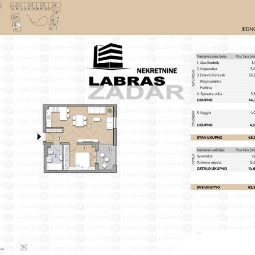 Novogradnja: Zadar-Belafuža, 50,85 m2 – B2