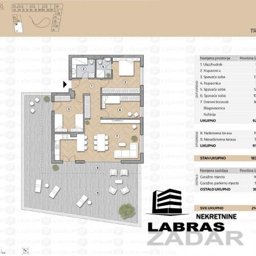 Novogradnja: Zadar-Belafuža, 136,87 m2 – C3 – PENTHOUSE