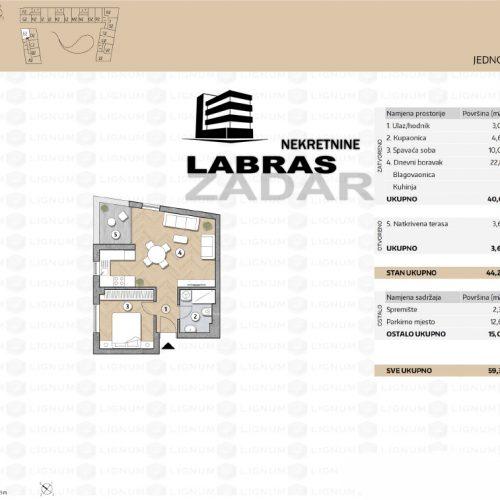 Novogradnja: Zadar-Belafuža, 46,18 m2 – E1