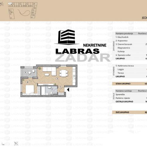 Novogradnja: Zadar-Belafuža, 49,66 m2 – F3