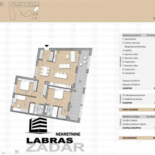 Novogradnja: Zadar-Belafuža, 117,97 m2 – N4