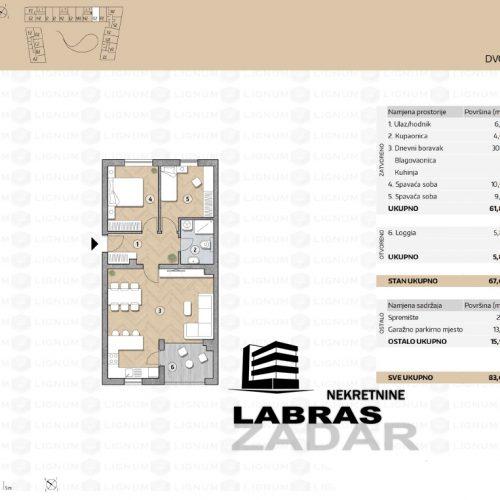 Novogradnja: Zadar-Belafuža, 74,19 m2 – O2