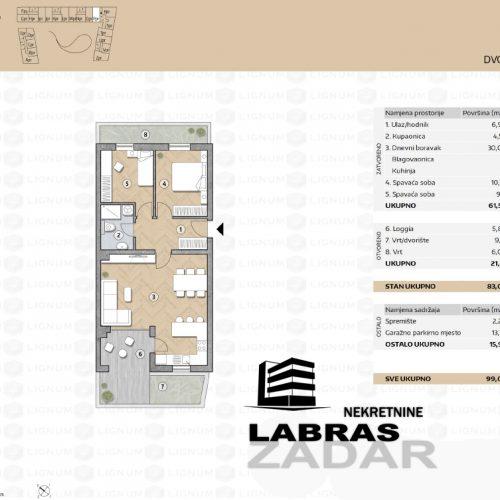 Novogradnja: Zadar-Belafuža, 77,05 m2 – PPR