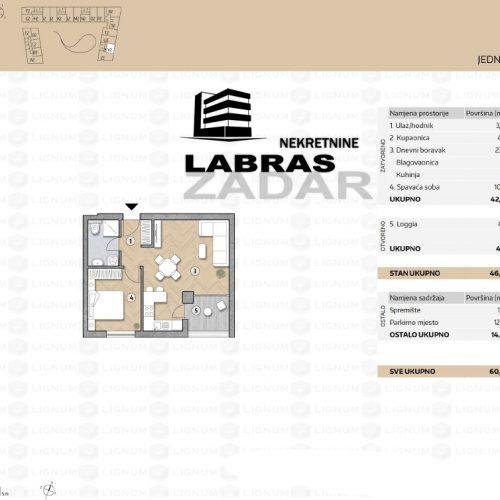 Novogradnja: Zadar-Belafuža, 46,68 m2 – V2