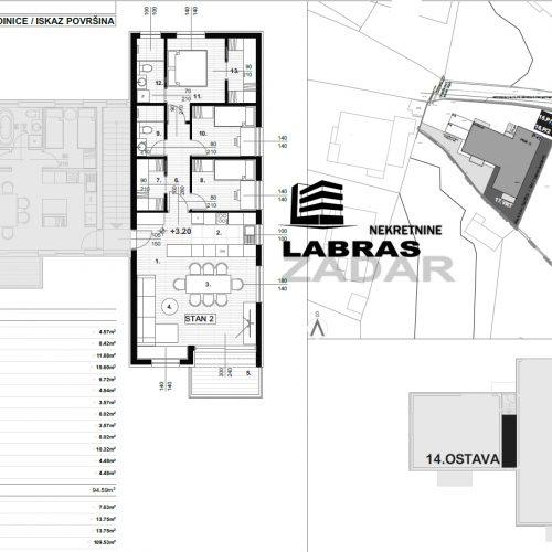 Trosobni stan: Zadar-Bokanjac, 116,29 m2, novogradnja – 1418 €/m2 !!!