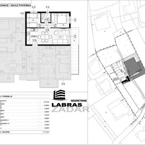 Stan: Zadar-Skročini, 71,74 m2, novogradnja s vrtom! – S2 – Z2