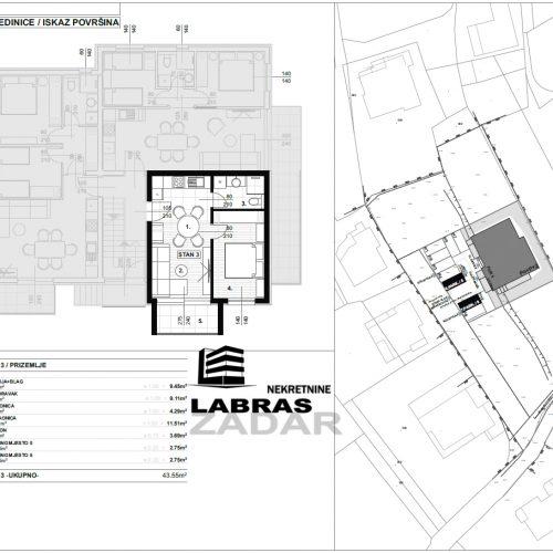 Jednosobni stan: Zadar-Skročini, 43,55 m2, novogradnja – S3 – Z2