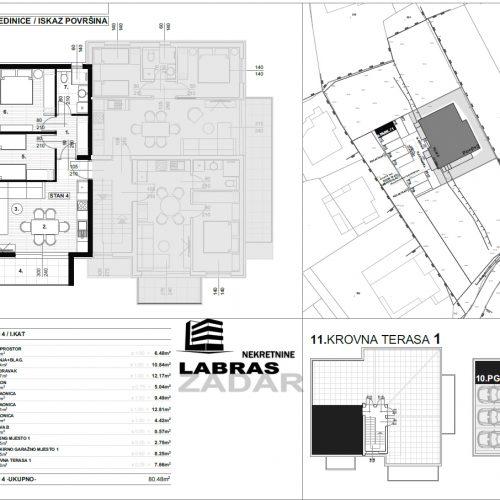 Stan: Zadar-Skročini, 80,48 m2, novogradnja, krovna terasa! – S4 – Z2