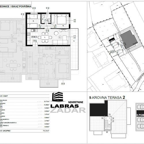 Stan: Zadar-Skročini, 76,24 m2, novogradnja, krovna terasa! – S5 – Z2