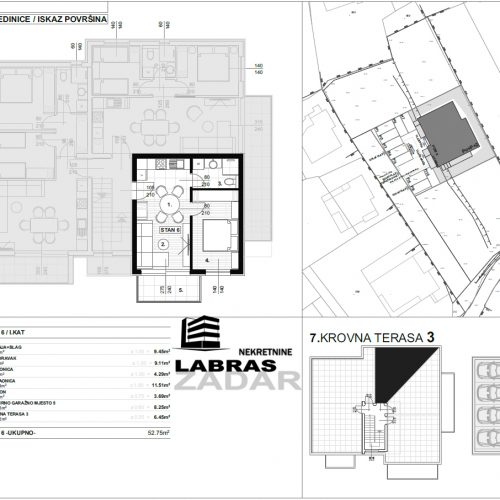 Jednosobni stan: Zadar-Skročini, 52,75 m2, novogradnja – S6 – Z2