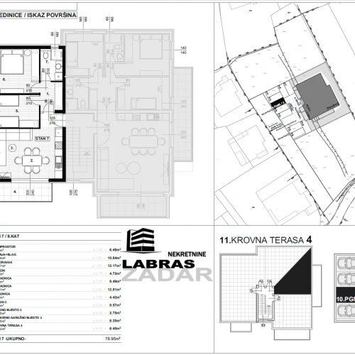 Stan: Zadar-Skročini, 78,95 m2, novogradnja, krovna terasa! – S7 – Z2