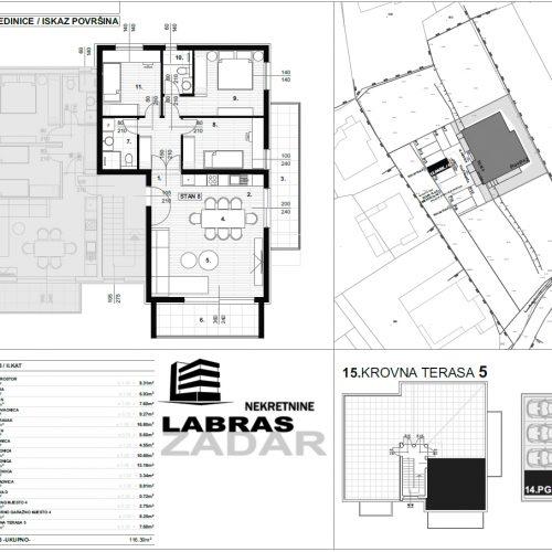 Stan: Zadar-Skročini, 116,39 m2, novogradnja, krovna terasa! – S8 – Z2
